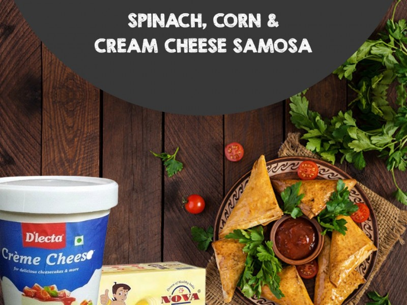 Spinach, Corn and Cream cheese Samosa Image