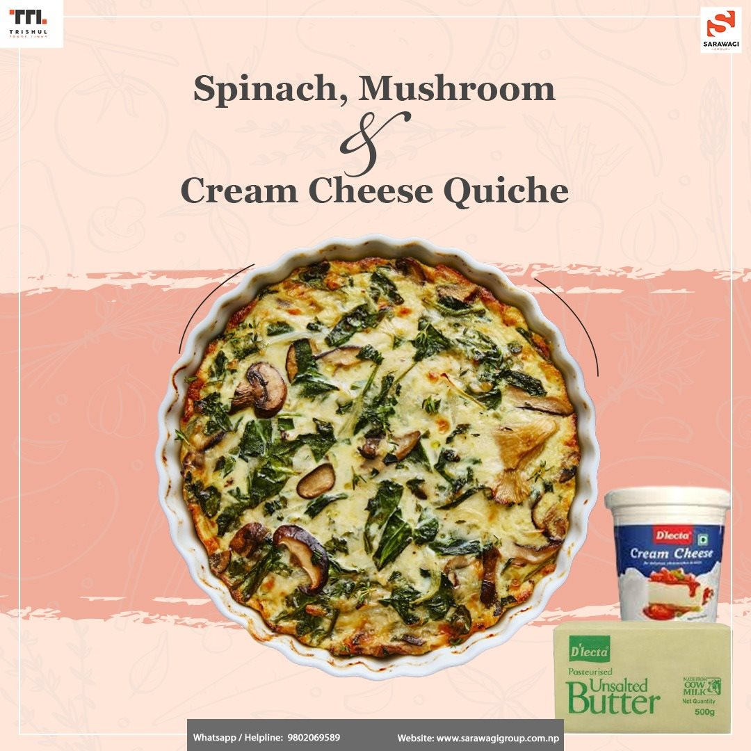 Spinach, Mushroom and Cream Cheese Quiche Image