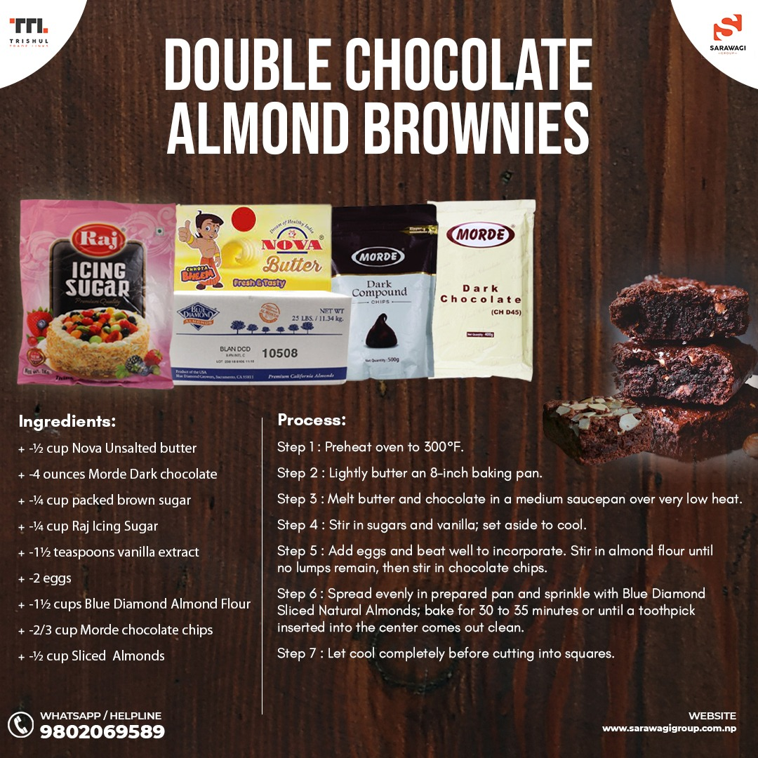 DOUBLE CHOCOLATE ALMOND BROWNIES Image